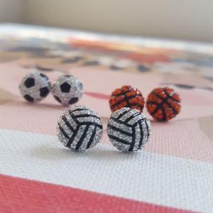 Basketball rhinestone earrings